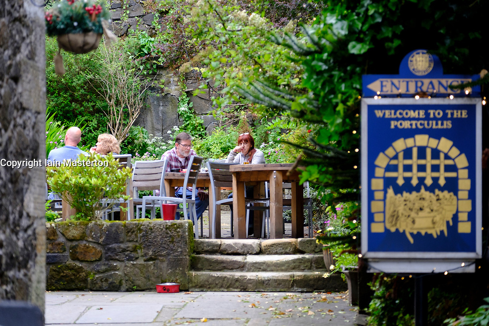 View of beer garden at  Portcullis Pub on Castle Wynd in Stirling Scotland, UK