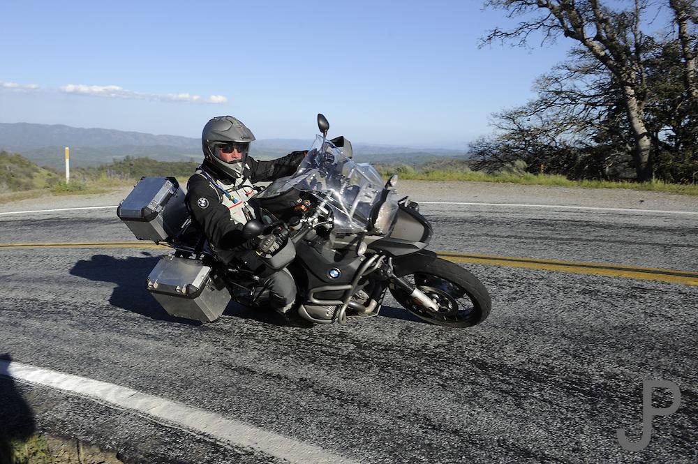 Bill Dragoo on 2008 BMW R1200 GS Adventure riding a twisty road outside San Jose, CA