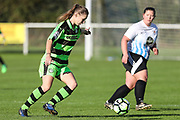 Forest Green Rovers Marika Niekowal(9) on the ball during the South West Womens Premier League match between Forest Greeen Rovers Ladies and Marine Academy Plymouth LFC at Slimbridge FC, United Kingdom on 5 November 2017. Photo by Shane Healey.