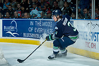 KELOWNA, CANADA - APRIL 26: Anthony Bishop #3 of the Seattle Thunderbirds stops behind the net with the puck against the Kelowna Rockets on April 26, 2017 at Prospera Place in Kelowna, British Columbia, Canada.  (Photo by Marissa Baecker/Shoot the Breeze)  *** Local Caption ***