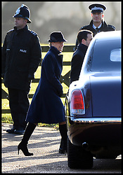 The Countess of Wessex joins the The Queen as they attend Church on the Sandringham estate, Sandringham, Norfolk, United Kingdom. Sunday, 29th December 2013. Picture by Andrew Parsons / i-Images