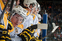 KELOWNA, CANADA - OCTOBER 25: Quintin Lisoway #28 of Brandon Wheat Kings stands on the bench against the Kelowna Rockets on October 25, 2014 at Prospera Place in Kelowna, British Columbia, Canada.  (Photo by Marissa Baecker/Shoot the Breeze)  *** Local Caption *** Quintin Lisoway;