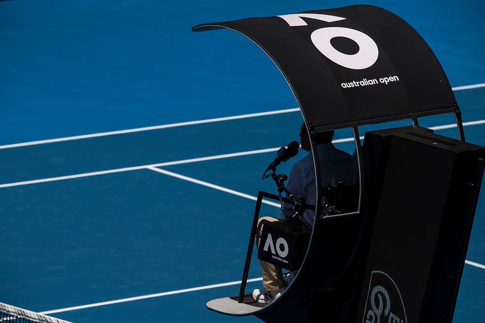 A detailed view of the chair umpire on day nine of the 2018 Australian Open in Melbourne Australia on Wednesday January 24, 2018.<br /> (Ben Solomon/Tennis Australia)