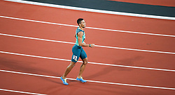 London, August 10 2017 . Wayde van Niekerk, South Africa, after claiming silver in the men's 200m final on day seven of the IAAF London 2017 world Championships at the London Stadium. © Paul Davey.