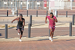 JOHANNESBURG, SOUTH AFRICA - MAY 10: A general view of people exercising in Ellis Park during lockdown level 4 on May 10, 2020 in Johannesburg, South Africa. According to media reports, during lockdown level 4 people are allowed to exercise. Guidelines allow for cycling, running and walking as examples and must be within a 5km radius of their residences between 6:00 am – 9:00 am. (Photo by Dino Lloyd)