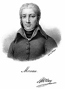 Jean Victor Moreau (1761-1813) French Revolutionary soldier. Rejected dictatorship but supported Napoleon's coup d'etat. Having been exiled: joined Russian service and was fatally wounded at the Battle of Dresden. Lithograph c1830.