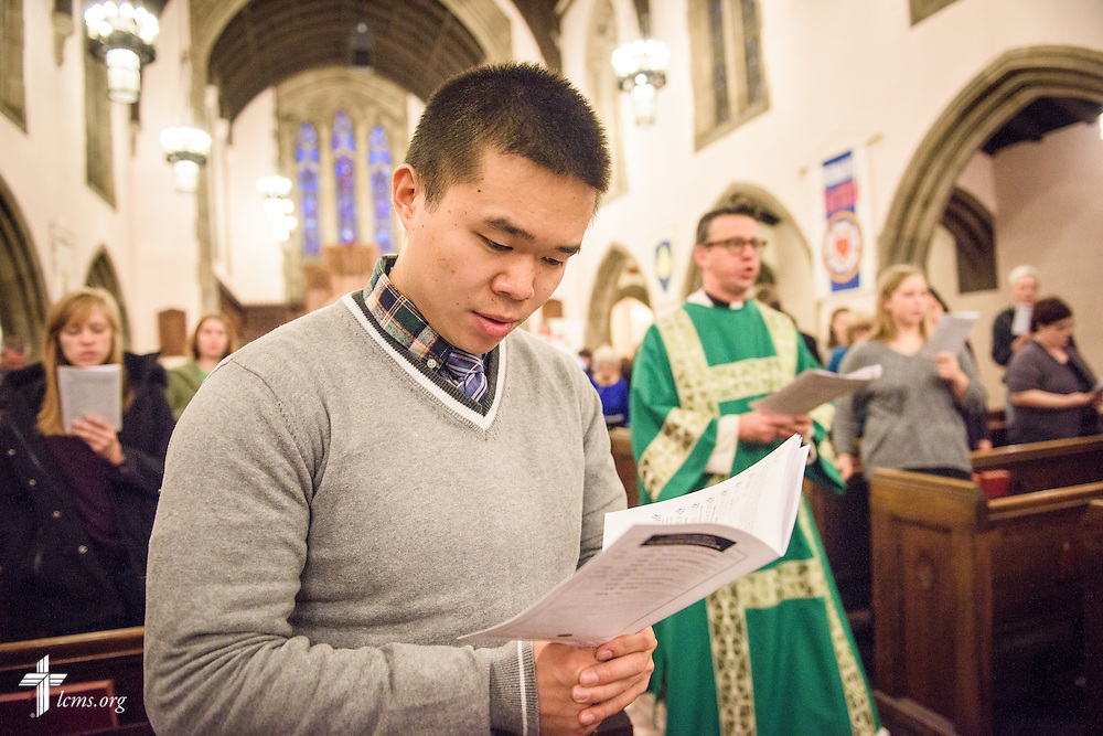 Anthony Jin signs during the recessional hymn at First Trinity Evangelical–Lutheran Church on Sunday, Nov. 20, 2016, in Pittsburgh. LCMS Communications/Erik M. Lunsford