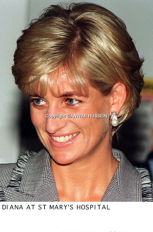 Diana, Princess of Wales during her visit to the Paediatric  Intensive Care Unit at St Mary's Hospital in London  .<br /><br />                             PH ANWAR HUSSEIN