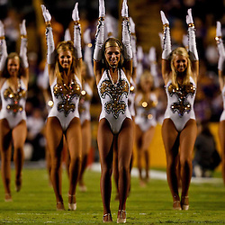 November 13, 2010; Baton Rouge, LA, USA; The LSU Golden Girls dance team performs prior to kickoff of a game between the LSU Tigers and the Louisiana Monroe Warhawks at Tiger Stadium. LSU defeated Louisiana-Monroe 51-0.  Mandatory Credit: Derick E. Hingle