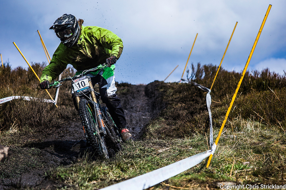 Ae Forest, Dumfries, Dumfries & Galloway, Scotland, UK. 3rd April 2016. Craig Evans of Hope Factory Racing during the 1st round of the British Downhill Series on the iconic 7Stanes trails in Ae Forest near Dumfries.