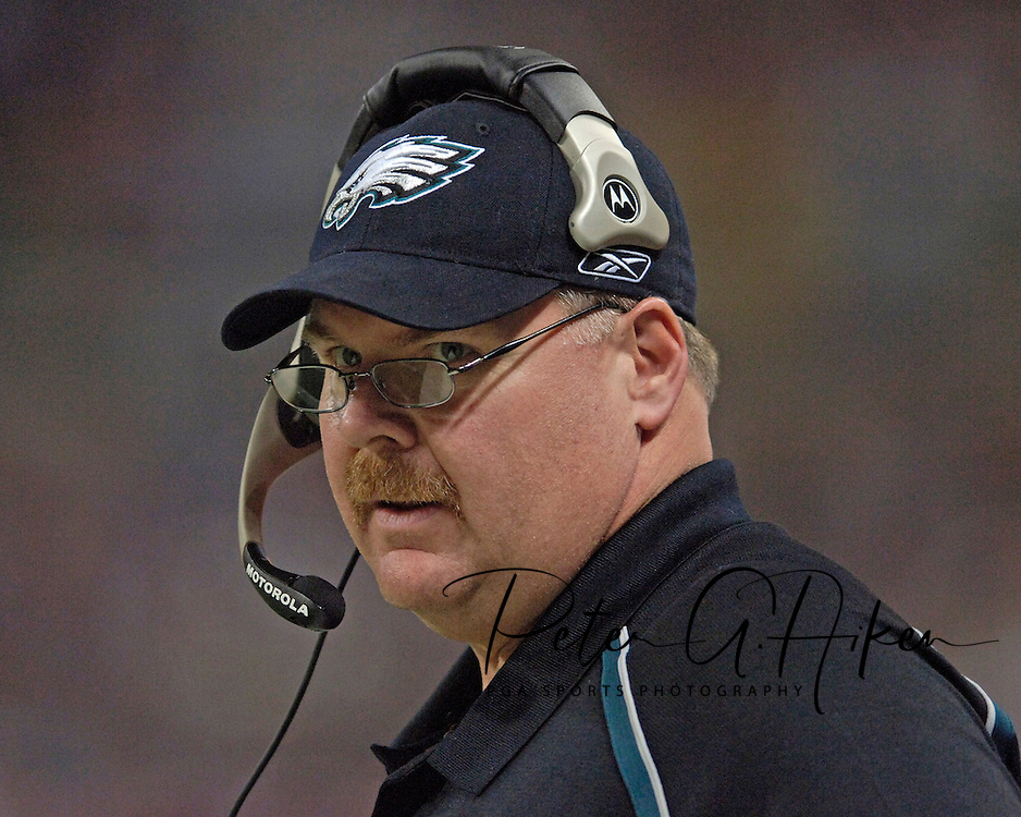 Philadelphia Eagles head coach Andy Reid on the sidelines during the first half agaisnt the St. Louis Rams, at the Edward Jones Dome in St. Louis, Missouri, December 18, 2005.  The Eagles beat the Rams 17-16.