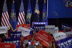Republican presidential candidate DONALD TRUMP turns his back to the audience as he rallies in Mannheim, Lancaster County, PA , on October 1, 2016.