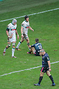 Ben Mowen (Section Paloise - PAU) scored a try, ball in hand, Sean Dougall (Section Paloise - PAU), Arthur Coville (Stade Francais Paris) on the floor, Heinke Van der Merwe (Stade Francais) during the French Championship Top 14 Rugby Union match between Stade Francais Paris and Pau on January 28, 2018 at Jean Bouin stadium in Paris, France - Photo Stephane Allaman / ProSportsImages / DPPI