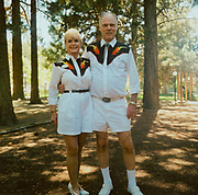 Couple dressed in matching line/country dancing outfits USA
