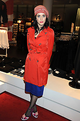 Singer KATY PERRY at a preview of the H&M Comme des Garcons collection held at H&M Regent Stret, London on 12th November 2008.