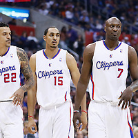 16 April 2013: Los Angeles Clippers small forward Matt Barnes (22), Los Angeles Clippers center Ryan Hollins (15) and Los Angeles Clippers power forward Lamar Odom (7) are seen during the Los Angeles Clippers 93-77 victory over the Portland Trail Blazers at the Staples Center, Los Angeles, California, USA.