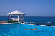 Gazebo, swimming pool, girl swimming in pool, Villa Rainbow, Stella Maris Resort, Long Island, Bahamas