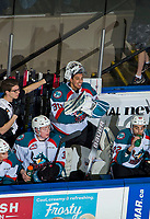KELOWNA, BC - JANUARY 26:  Roman Basran #30 of the Kelowna Rockets is all smiles on the bench in the final minute of the game against the Vancouver Giants at Prospera Place on January 26, 2019 in Kelowna, Canada. (Photo by Marissa Baecker/Getty Images)