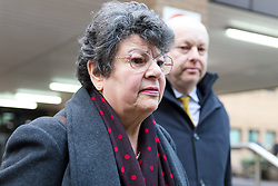 © Licensed to London News Pictures. 09/01/2019. London, UK.  Marion Little, party activist leaves Southwark Crown Court after being given a suspended sentence and found guilty of two charges in connection with breaking electoral expenses rules in Craig Mackinlay's 2015 general election campaign.  Photo credit: Vickie Flores/LNP