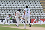 WICKET - George Balderson is caught by Colin Ackemann at slip off Chris Wright during the Bob Willis Trophy match between Lancashire County Cricket Club and Leicestershire County Cricket Club at Blackfinch New Road, Worcester, United Kingdom on 2 August 2020.