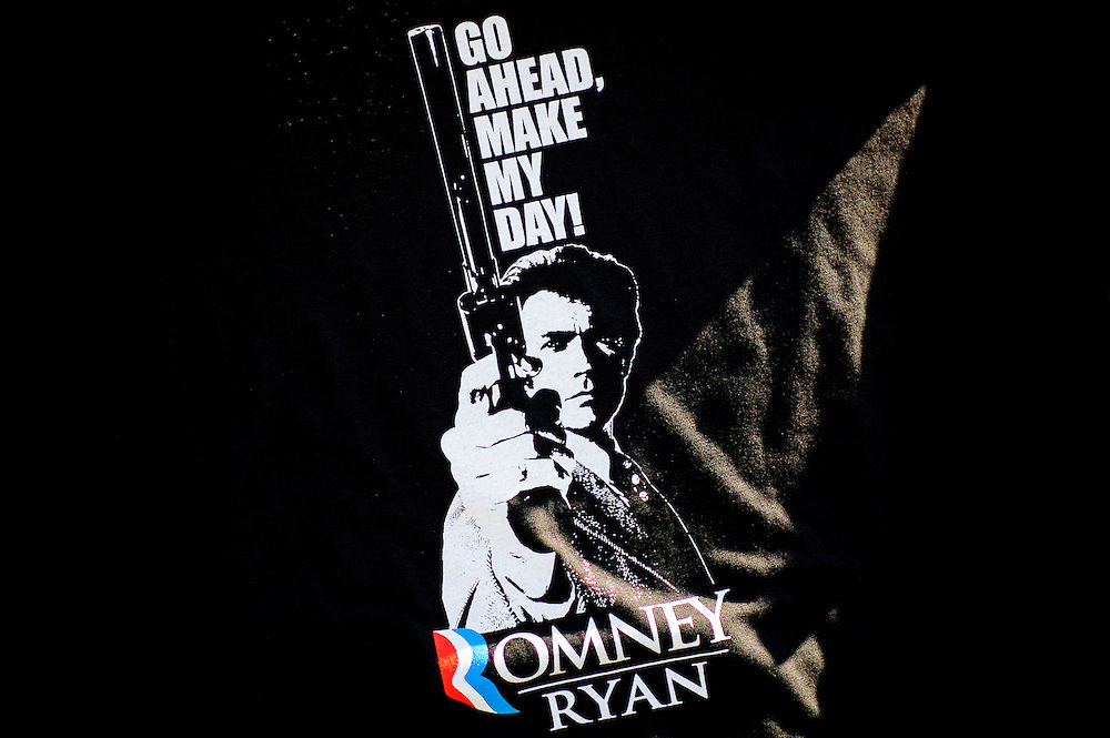 A t-shirt for sale at a campaign rally in Leesburg , Virginia on Wednesday where Republican Presidential candidate Mitt Romney spoke to supporters.