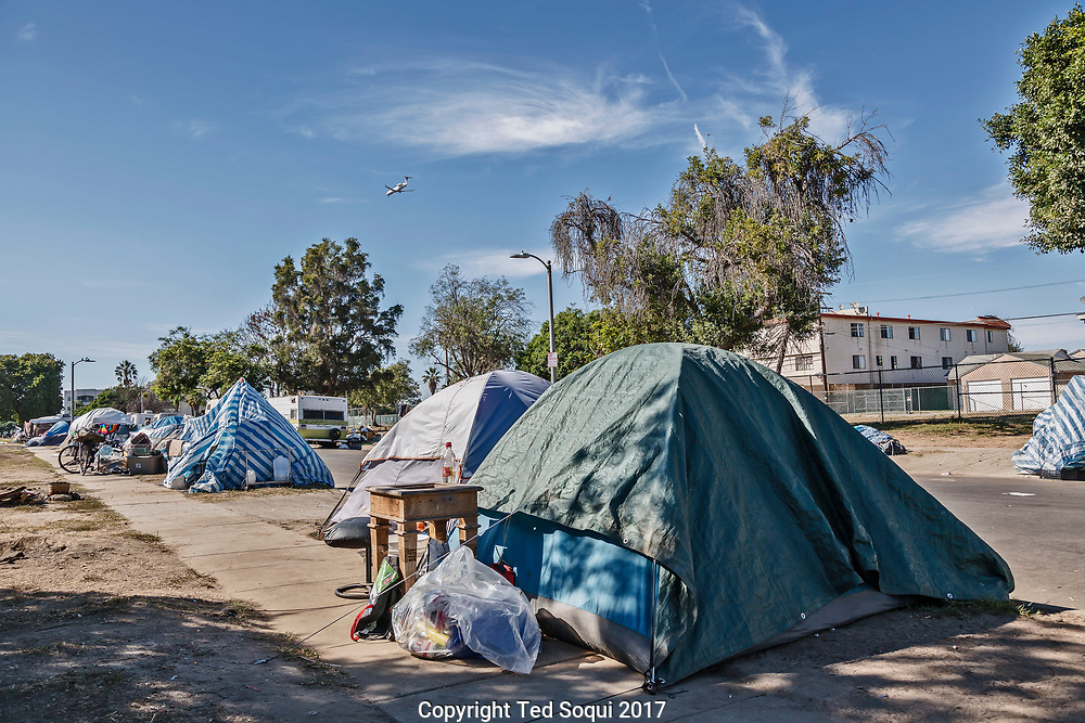 Homeless encampment near LAX.