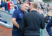 Blackburn Rovers Manager Tony Mowbray and Dean Smith Head Coach of Brentford shake hands during the EFL Sky Bet Championship match between Blackburn Rovers and Brentford at Ewood Park, Blackburn, England on 25 August 2018.
