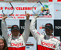 Apr 12, 2003; Long Beach, CA, USA; Pro Category Winner JEREMY McGRATH with overall race winner PETER RECKELL with first place trophy's @ the 27th Annual Pro/Celebrity Race in Long Beach racing Toyota Celica race cars.  Driving 10 laps on a 1.97 mile track along shoreline drive. <br />
