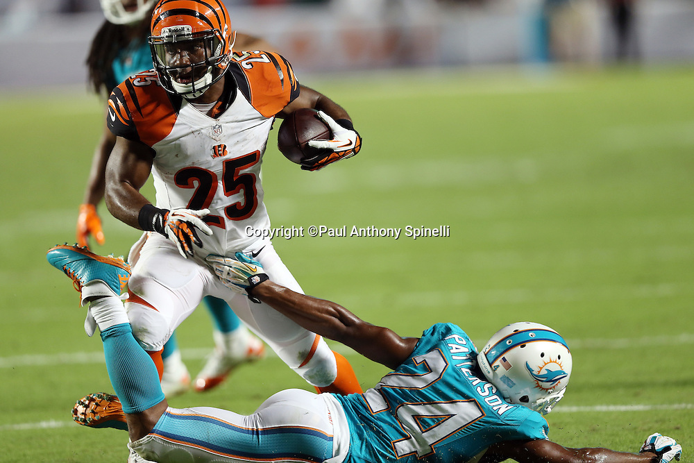 Cincinnati Bengals running back Gio Bernard (25) breaks away from a groin grab by Miami Dolphins cornerback Dimitri Patterson (24) after catching a flat pass for a third quarter gain of six yards during the NFL week 9 football game against the Miami Dolphins on Thursday, Oct. 31, 2013 in Miami Gardens, Fla.. The Dolphins won the game 22-20 in overtime. ©Paul Anthony Spinelli