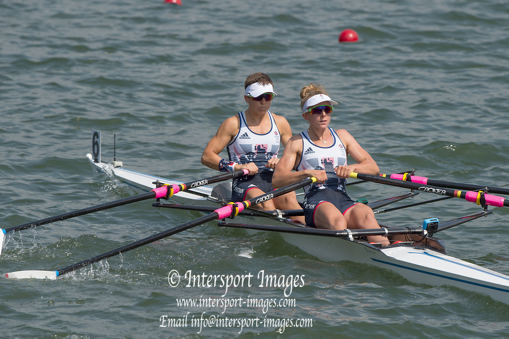Rio de Janeiro. BRAZIL.  GBR LW2X. Bow. Charlotte TAYLOR and Kat COPELAND, 2016 Olympic Rowing Regatta. Lagoa Stadium,<br /> Copacabana,  &ldquo;Olympic Summer Games&rdquo;<br /> Rodrigo de Freitas Lagoon, Lagoa. Local Time 11:20:00  Tuesday  09/08/2016 <br /> [Mandatory Credit; Peter SPURRIER/Intersport Images]