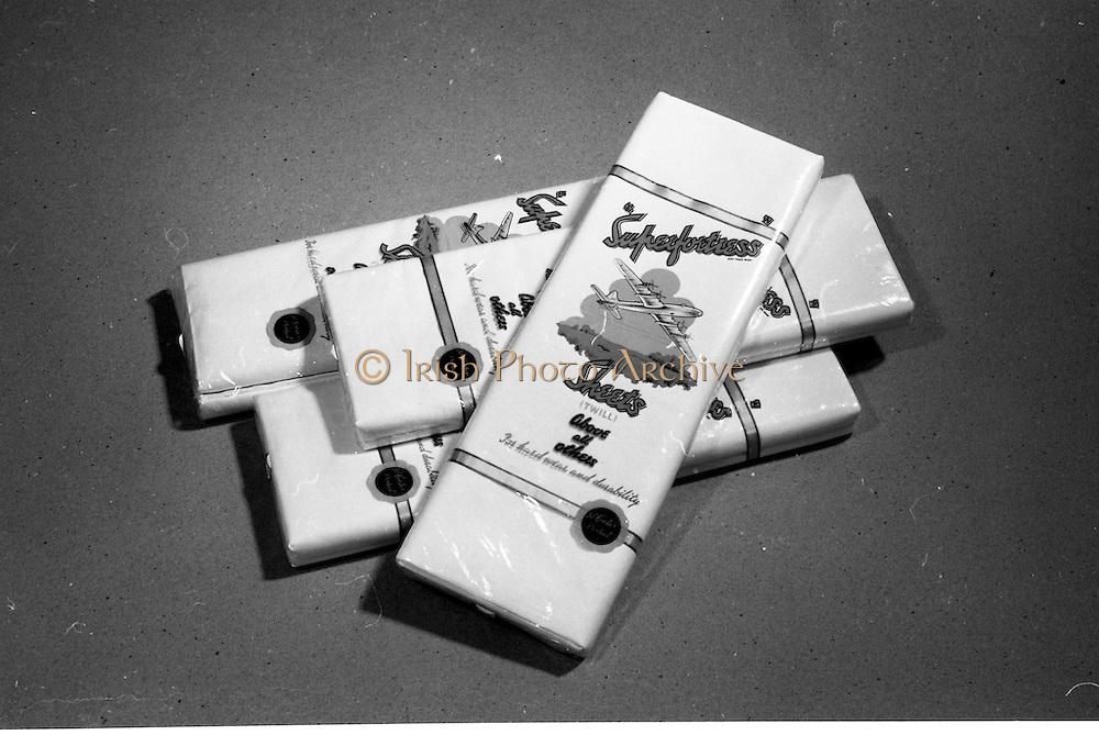 20-25/05/1966<br /> 05/20-25/1966<br /> 20-25 May 1966<br /> Competition prizes photographed at Lensmen Studio for Esso (Ireland) Ltd. Superfortress (Gentex) bedsheets.