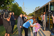 Superintendent Richard Carranza rides the bus to school with students who live in Allison Acres Mobile Home Community.