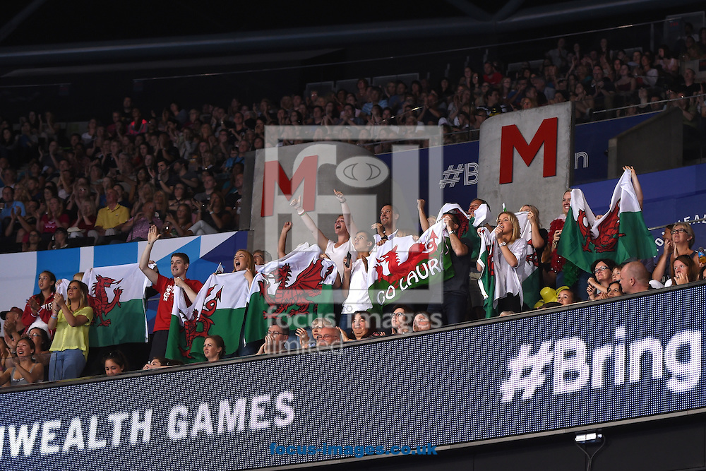 Welsh fans supporting Laura Halford WAL in the Rhythmic Gymnastics final at SSE Hydro, Glasgow<br /> Picture by Alan Stanford/Focus Images Ltd +44 7915 056117<br /> 26/07/2014