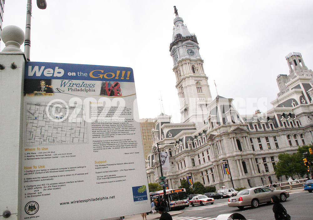 PHILADELPHIA - MAY 2:  A sign announcing Web on the Go sits at the entrance to Love Park, part of the Wireless Philadelphia project May 2, 2005 in Philadelphia, Pennsylvania. Philadelphia's wireless internet plam is to have low-cost wifi internet access available throughout the city. (Photo by William Thomas Cain)