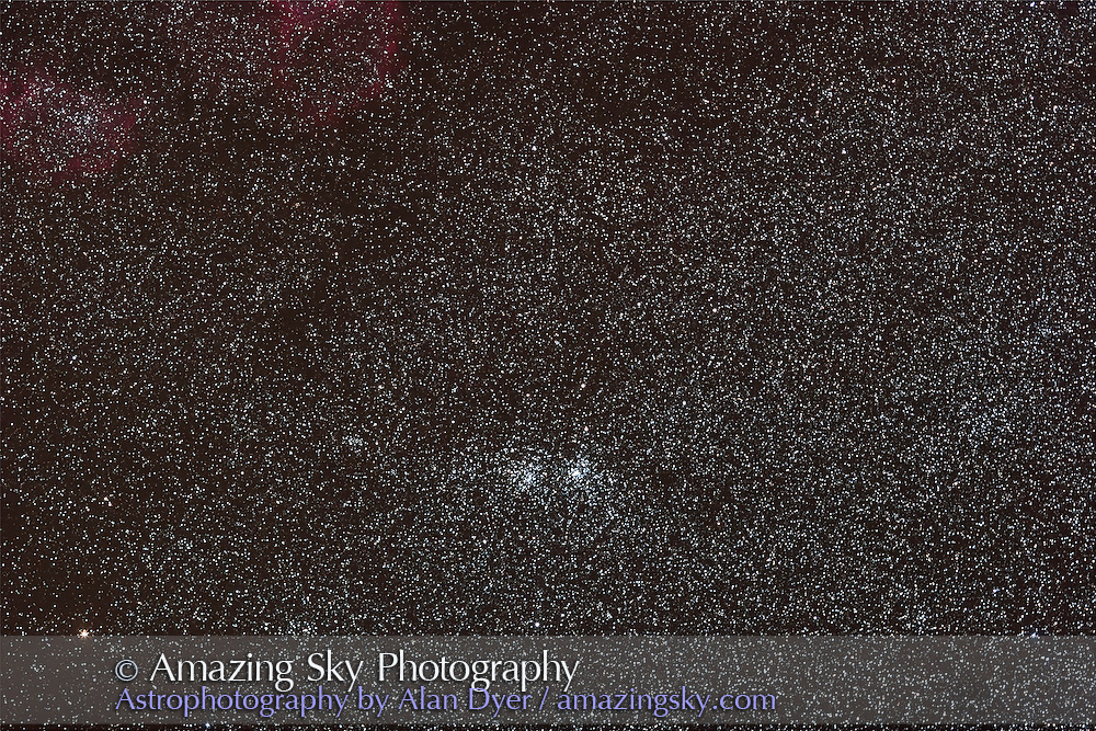 Double Cluster and Stock 2 cluster in Persesus. Taken Sept. 14, 2007 for stack of 4 x 4 minute exposures with 135mm L-series lens at f/2.8 and Canon 20Da camera at ISO 800. Simulates binocular field.