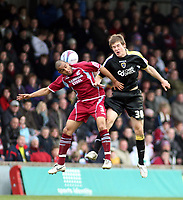 Photo: Mark Stephenson/Richard Lane Photography. <br /> Scunthorpe United v Cardiff City. Coca-Cola Championship. 19/04/2008. Scunthorp's Marcus Williams gets the better of Cardiff's Aaron Ramsey