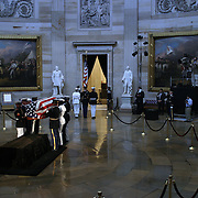 Military Honor Guard carry the casket of President Reagan out of the Rotunda of the US Capitol Friday, June 11, 2004.  The former president will lie-in-state there until Friday morning...Photo by Khue Bui