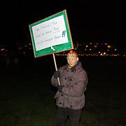 Russisch Kerstcircus 2003, protest, dieren actievoerder, spandoek