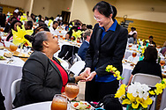 Guests greet each other during the Class of 2018 Graduation & Awards Banquet in the Julius and Mary Jenkins Center on Thursday, April 26, 2018, at Concordia College Alabama in Selma, Ala. LCMS Communications/Erik M. Lunsford