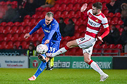 AFC Wimbledon forward Joe Pigott (39) takes a shot during the The FA Cup match between Doncaster Rovers and AFC Wimbledon at the Keepmoat Stadium, Doncaster, England on 19 November 2019.