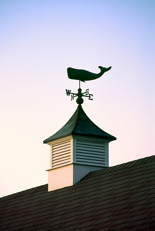 Sperm whale weather vane in village of Madaket on the island of Martha's Vineyard, Cape Cod, Massachusetts, USA