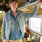 Thurston Moore pose for a quick portrait during the Station to Station tour, an artist-driven public art project made possible by Levi's.