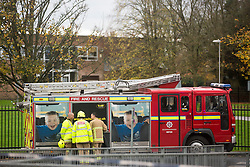 © Licensed to London News Pictures. 11/11/2015. Ripon, UK. 27 children have been taken ill following a suspected gas leak at the Outwood academy school in Ripon. Two schoolchildren have been hospitalised after they suddenly collapsed at an academy in North Yorkshire today. Hazmat officers were called to Outwood Academy in Ripon after at least 27 pupils and one teacher were mysteriously taken ill at the same time. <br /> Initial reports claimed that the source of the illness may have a gas leak in the local area.<br /> Some of the children were treated at the scene by paramedics after falling ill around 11am, while an unknown number of others were taken to hospital. Photo credit: Andrew McCaren/LNP