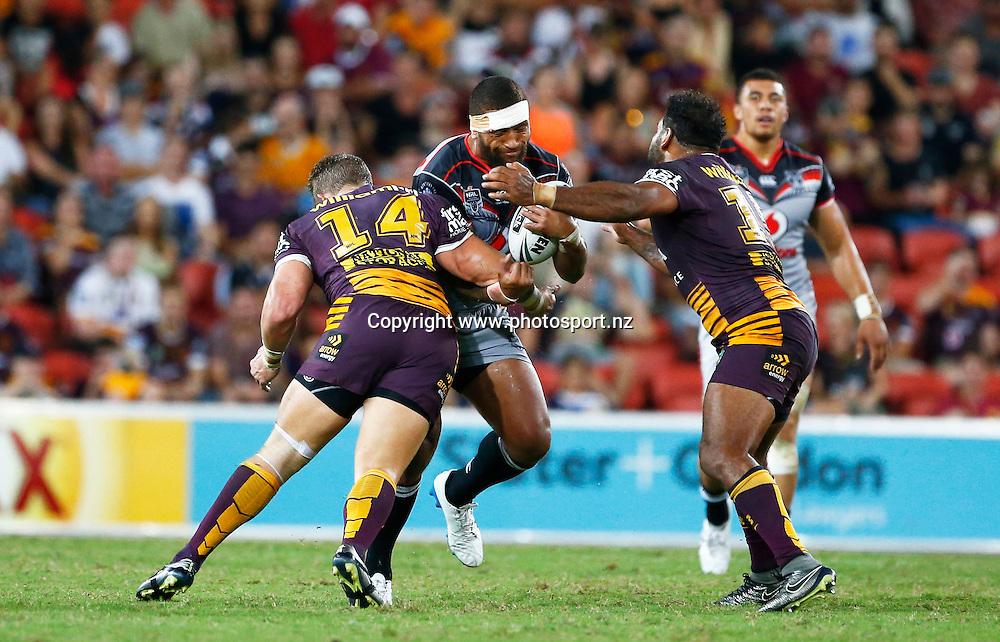 Rugby League NRL - Brisbane Broncos v  New Zealand Warriors , Suncorp Stadium , Brisbane Australia -   11 March 2016<br /> Warriors' Manu Vatuvei in action<br /> Jason O'Brien / www.photosport.nz