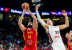 Bojan Dubljevic of Montenegro vs Martins Meiers of Latvia during basketball match between National Teams of Latvia and Montenegro at Day 11 in Round of 16 of the FIBA EuroBasket 2017 at Sinan Erdem Dome in Istanbul, Turkey on September 10, 2017. Photo by Vid Ponikvar / Sportida