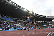 Jun 16, 2019; Rabat, Morocco; Genzebe Dibaba (ETH) defeats Sifan Hassan to win the women's 1,500m, 3:55.47 to 3:55.93, during the Meeting International Mohammed VI d'Athletisme de Rabat at Prince Moulay Abdellah Stadium.