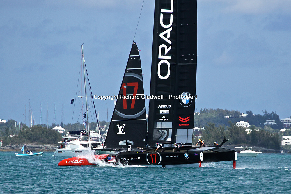 Race 10 - Oracle dives at the end of a foiling gybe  - 35th America's Cup - Bermuda  May 28, 2017 . Copyright Image: Richard Gladwell / Sail World / www.photosport.nz