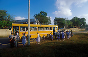 The morning school bus in the Jaffna Peninsula town of Chavakchcheri. 2002