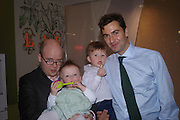 Toby Young and Sasha. Euan Rellie and  Heathcliff  Rellie. Launch of 'Lucy  Sykes Baby, New York' Selfridges. 14 April 2005. ONE TIME USE ONLY - DO NOT ARCHIVE  © Copyright Photograph by Dafydd Jones 66 Stockwell Park Rd. London SW9 0DA Tel 020 7733 0108 www.dafjones.com