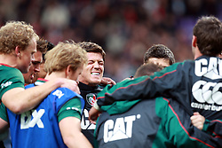 Leicester players huddle together for a team talk before the Heineken Cup match between Stade Toulouse and Leicester Tigers at Stade Municipal on October 14, 2012 in Toulouse, France.  Eoin Mundow/Cleva Media